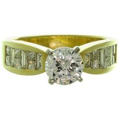 Fancy-Cut Diamond Zircon Yellow Gold Engagement Ring