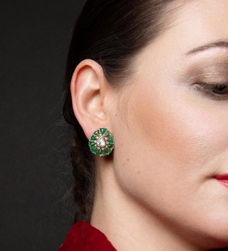 Fancy-cut Emerald and Rose-Cut Diamond Earrings by Manpriya B  2