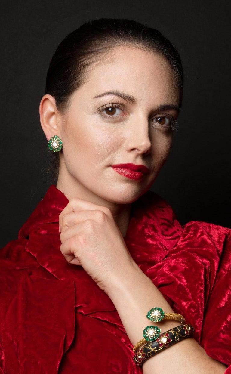 Fancy-cut Emerald and Rose-Cut Diamond Earrings by Manpriya B  3