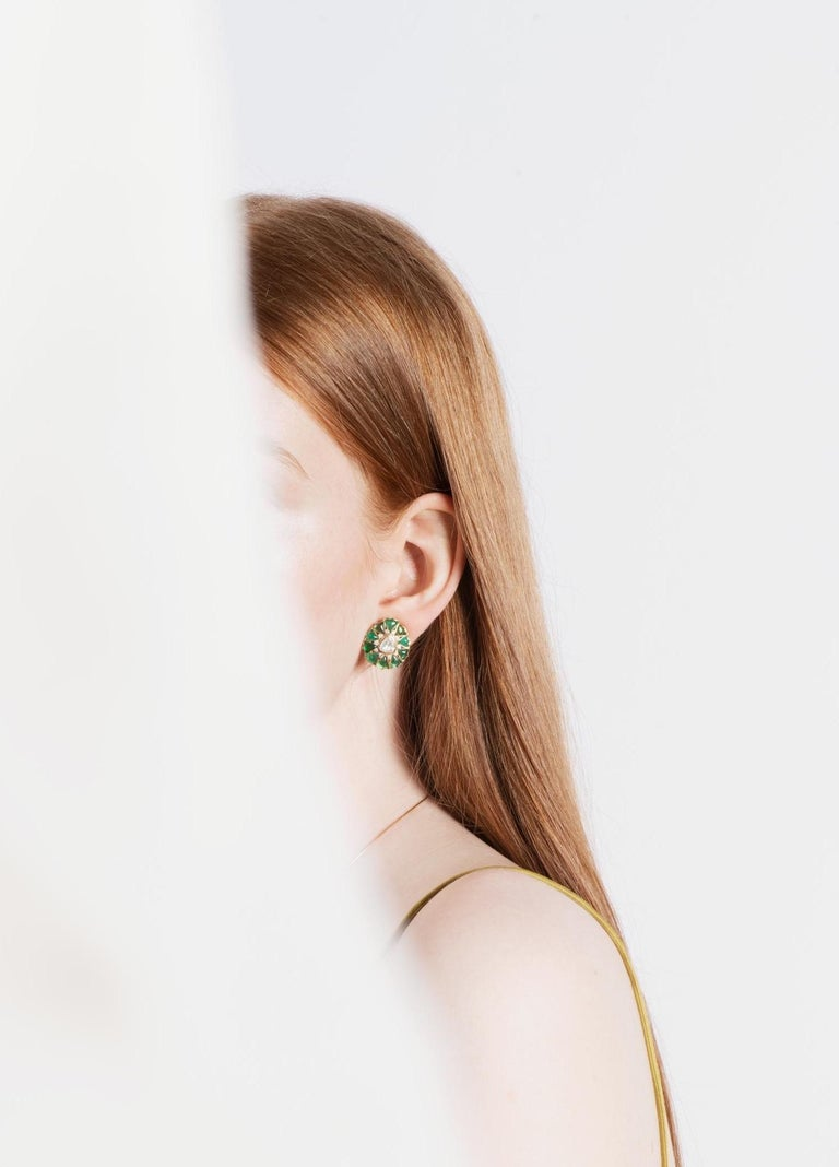 Fancy-cut Emerald and Rose-Cut Diamond Earrings by Manpriya B  4
