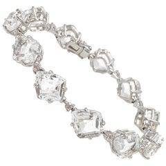 Fancy-cut White Topaz and White Sapphire Tennis Bracelet