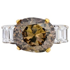 Fancy Dark Brown 6.91 Carat Diamond 18 Karat Two-Tone Gold Engagement Ring GIA