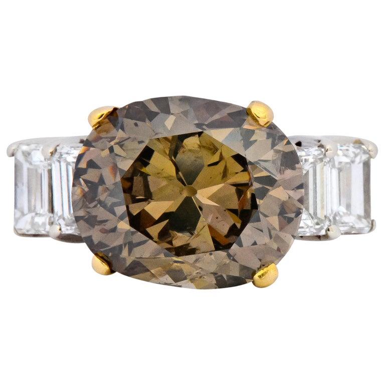 Fancy Dark Brown 6.91 Carat Diamond 18 Karat Two-Tone Gold Engagement Ring GIA For Sale