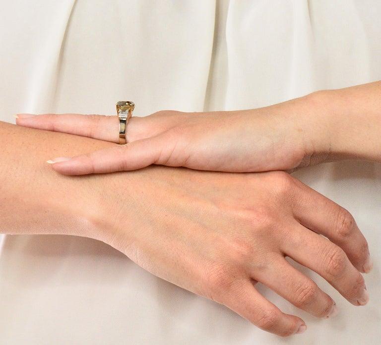Fancy Dark Brown 6.91 Carat Diamond 18 Karat Two-Tone Gold Engagement Ring GIA For Sale 4