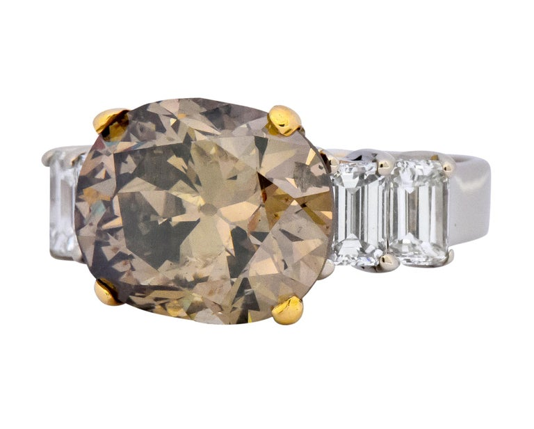 Women's or Men's Fancy Dark Brown 6.91 Carat Diamond 18 Karat Two-Tone Gold Engagement Ring GIA For Sale
