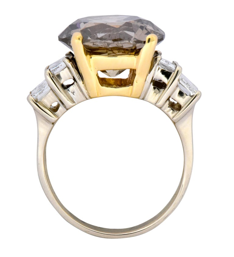 Fancy Dark Brown 6.91 Carat Diamond 18 Karat Two-Tone Gold Engagement Ring GIA For Sale 1