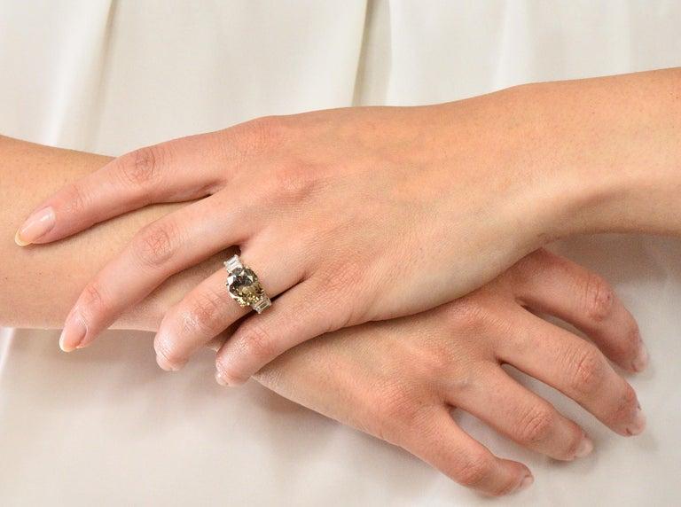 Fancy Dark Brown 6.91 Carat Diamond 18 Karat Two-Tone Gold Engagement Ring GIA For Sale 3