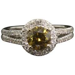Fancy Dark Brown Greenish Yellow Diamond Micro-Pave Ring