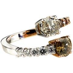 Fancy Dark Yellow Color Diamond Cross Over Ring in Bimetal 18K White & Rose Gold