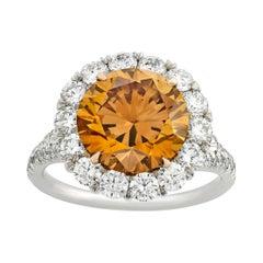Fancy Deep Brown-Orange Diamond Ring, 4.04 Carats