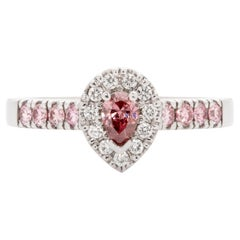 Fancy Deep Pink 0.16 Carat GIA Certified Diamond 18 Karat White Gold Ring