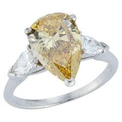 Fancy Deep Yellow Pear Shape Diamond Ring