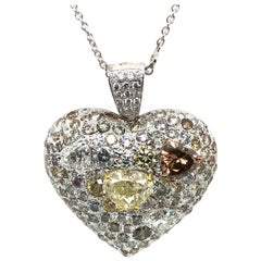 Fancy Diamond 14.95 Carat Heart Shape Pendant 18 Karat Gold