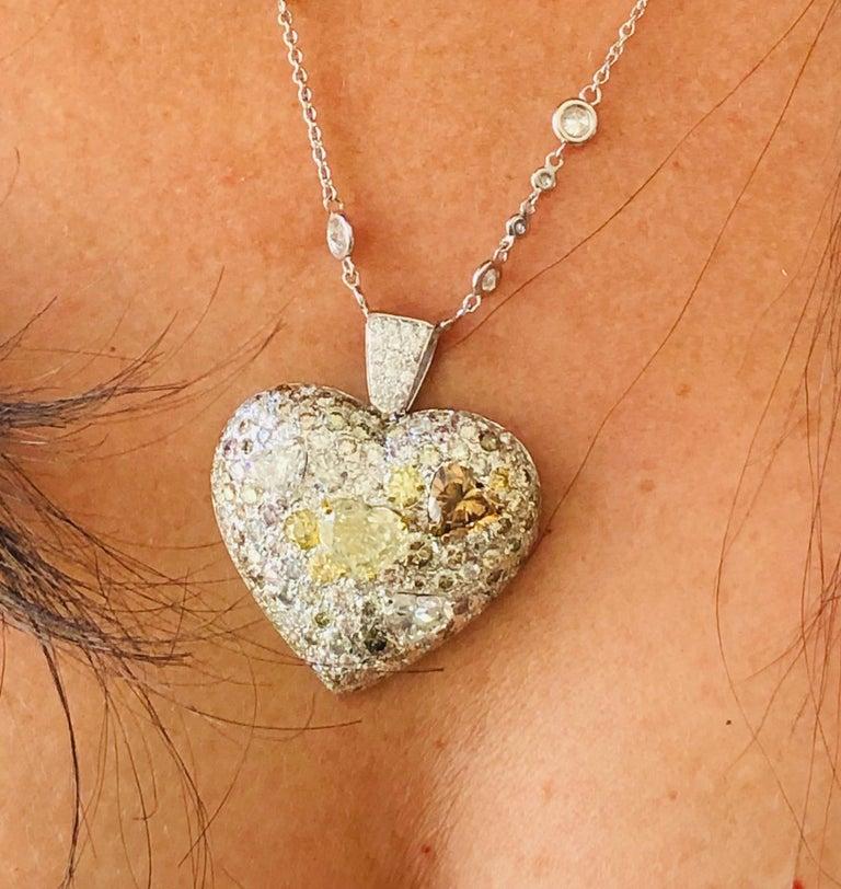 Heart Cut Fancy Diamond 14.95 Carat Heart Shape Pendant 18 Karat Gold For Sale