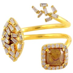 Fancy Diamond 18 Karat Gold Between the Finger Ring