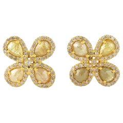 Fancy Diamond 18 Karat Gold Clover Stud Earrings