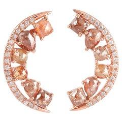 Fancy Diamond 18 Karat Gold Crescent Stud Earrings