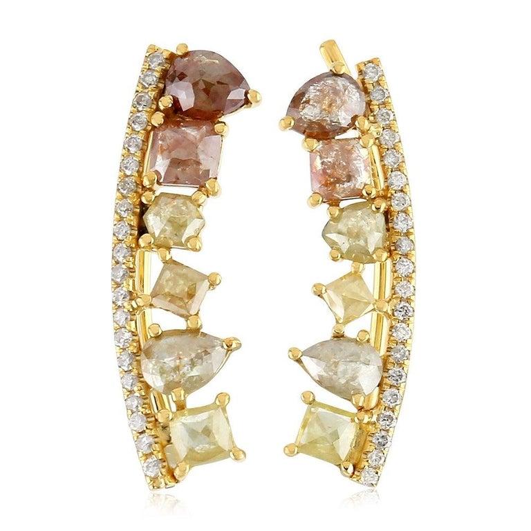 Mixed Cut Fancy Diamond 18 Karat Gold Ear Climber For Sale