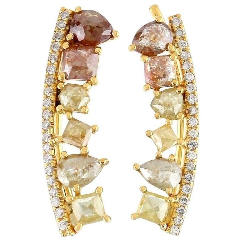 Fancy Diamond 18 Karat Gold Ear Climber For Sale