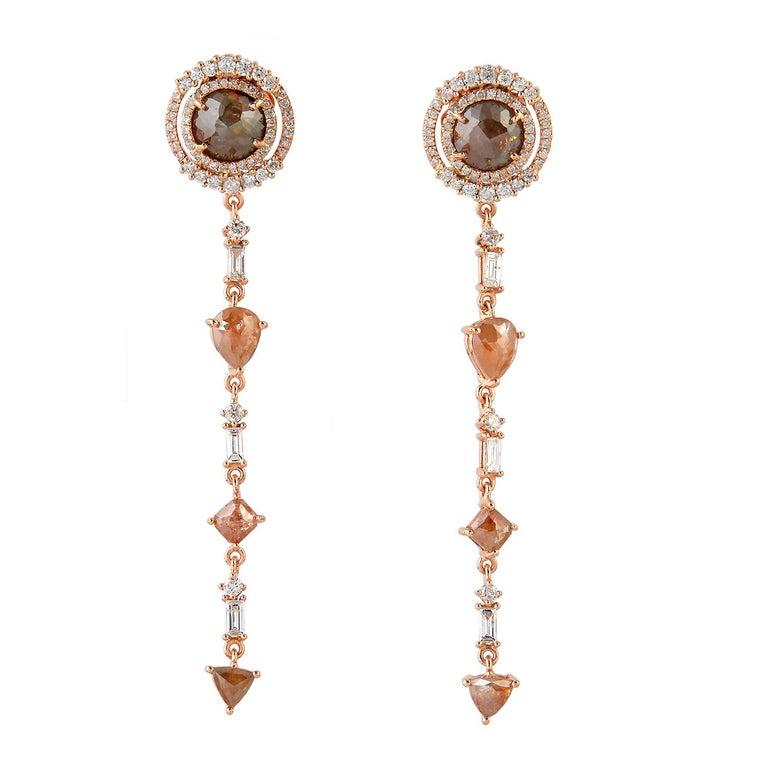 Rose Cut Fancy Diamond 18 Karat Gold Earrings  For Sale