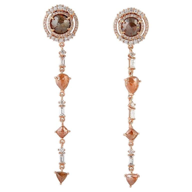 Fancy Diamond 18 Karat Gold Earrings  For Sale