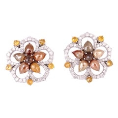 Fancy Diamond 18 Karat Gold Floral Stud Earrings