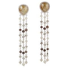 Fancy Diamond 18 Karat Gold Fringe Earrings