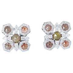 Fancy Diamond 18 Karat Gold Geometry Stud Earrings