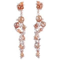 Fancy Diamond 18 Karat Gold Icicle Earrings