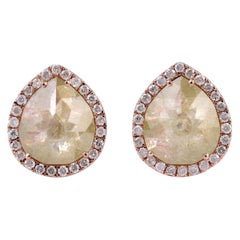 Fancy Diamond 18 Karat Gold Stud Earrings