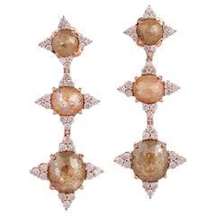 Fancy Diamond 18 Karat Gold Triple Drop Earrings