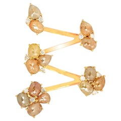 Fancy Slice Diamond 18 Karat Gold Floral Between the Finger Ring