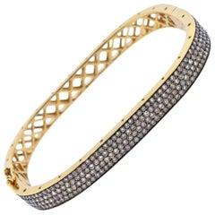 Fancy Diamond Gold Bangle Bracelet