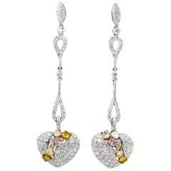 Fancy Diamond Heart Earrings 1.24 Carat with White Diamonds 2.71 Carat 18K Gold