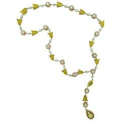Fancy Diamond Platinum and 18 Karat Yellow Gold Necklace by GRAFF