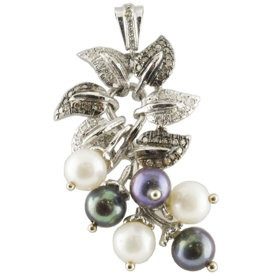 Fancy Diamond, Diamond, Gray and White Pearl Gold Necklace