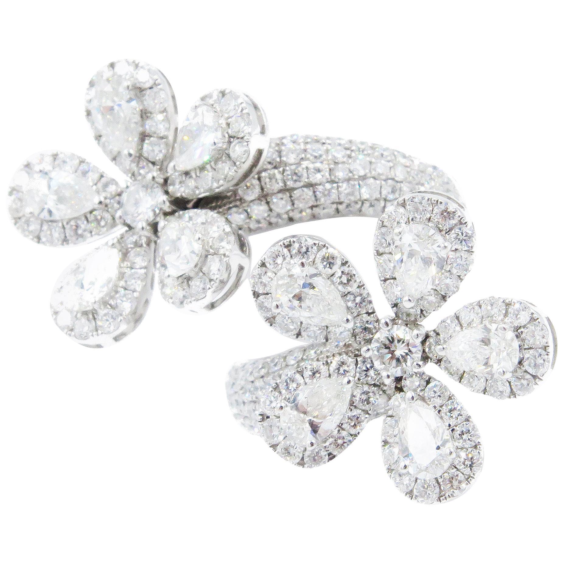 Fancy Double Flower Spiral Ring