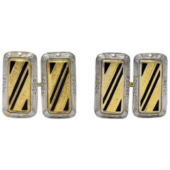 Fancy Edwardian Enamel Platinum 14 Karat Gold Cufflinks