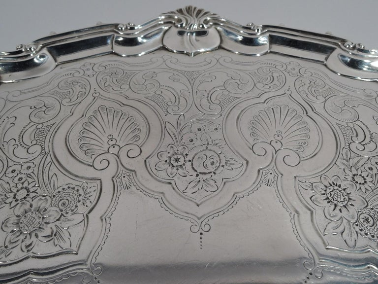 Late 19th Century Fancy English Victorian Georgian Sterling Silver Salver Tray For Sale