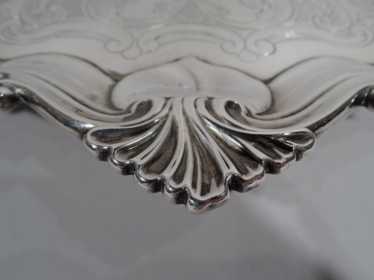 Fancy English Victorian Georgian Sterling Silver Salver Tray For Sale 1