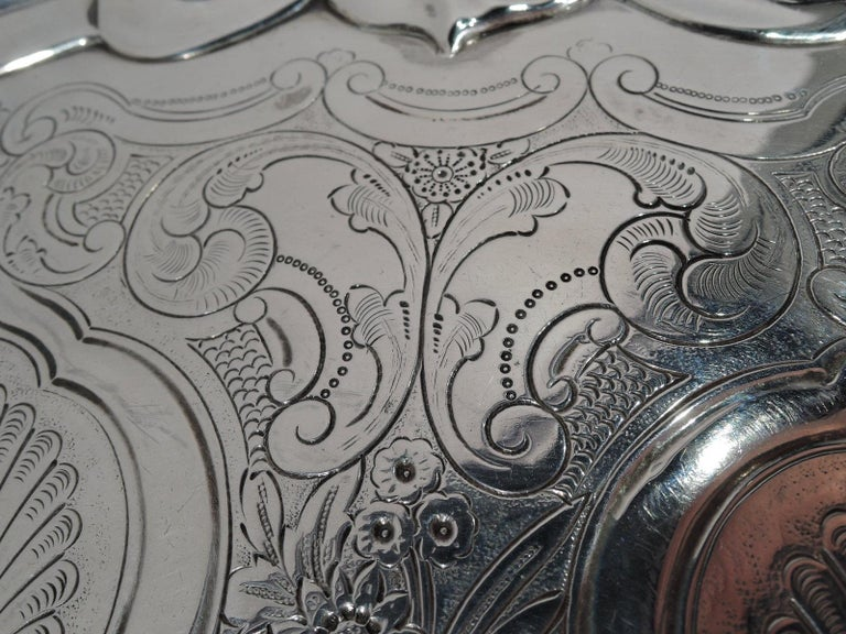 Fancy English Victorian Georgian Sterling Silver Salver Tray For Sale 2