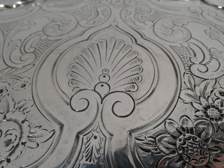 Fancy English Victorian Georgian Sterling Silver Salver Tray For Sale 3