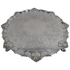 Fancy English Victorian Georgian Sterling Silver Salver Tray
