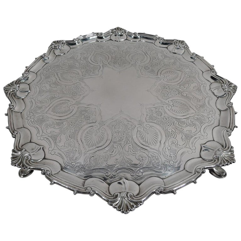 Fancy English Victorian Georgian Sterling Silver Salver Tray For Sale