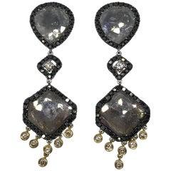 Fancy Flat Diamonds Earrings in White and Yellow Gold