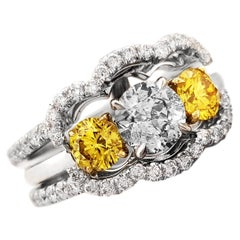 Fancy Gray-Blue and Vivid Yellow Diamonds Engagement Ring Jacket in Platinum GIA