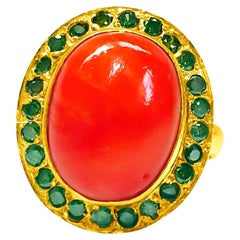 Fancy Green Diamonds Coral Yellow Gold Ring
