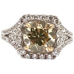 Fancy Greenish Yellow Diamond Engagement Bridal Wedding White Gold 18 Karat Ring