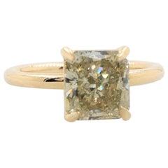 Fancy Greyish Yellow Radiant Cut 2.10 Carat Diamond Solitaire Ring 14 Karat EGL