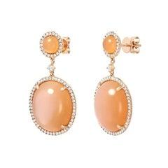 Fancy Impressive Natural Moonstone Diamond Rose Gold Diamond Earrings for Her